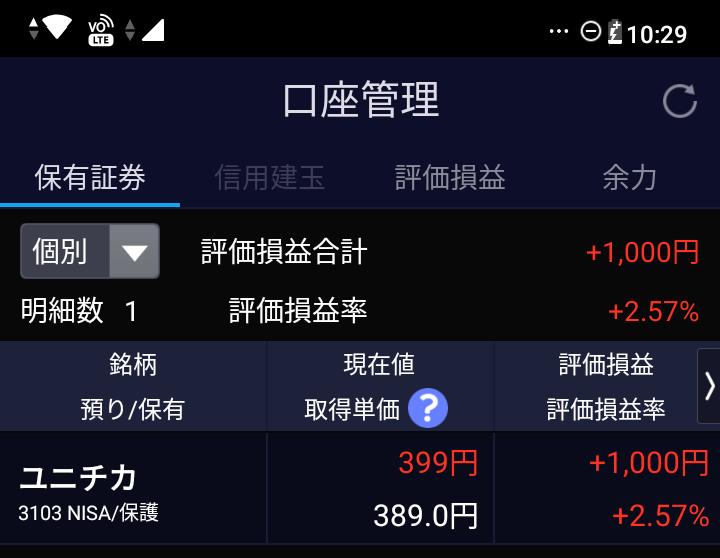 株でプラス1000円